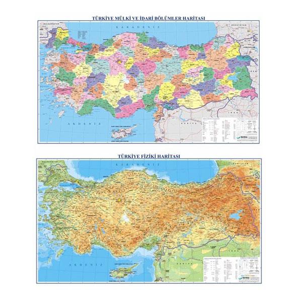 Gurbuz Yayinlari Turkiye Fiziki Siyasi Cift Tarafli Harita