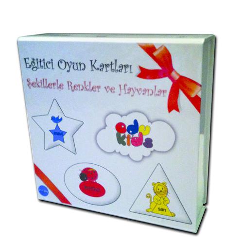 Eğitici oyun kartları şekillerle renkler ve hayvanlar