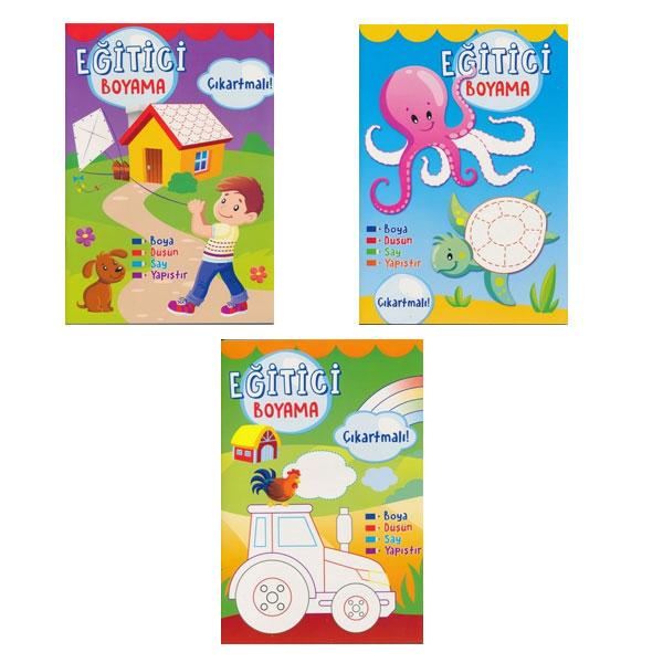 Net çocuk Eğitici çıkartmalı 3 Boyama Kitapları Kampanya